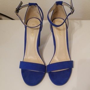 Blue bamboo heels